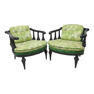 Green Floral Ebonized Carved Club Chairs - A Pair