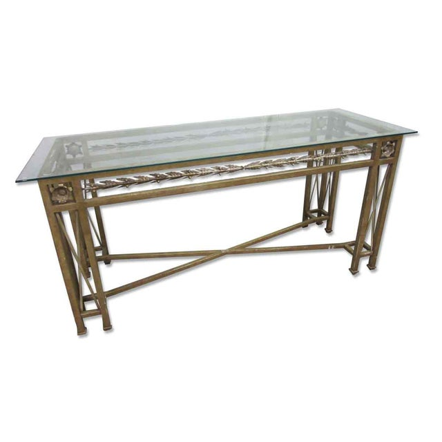 Wrought iron glass top console table chairish for Metal console tables glass top