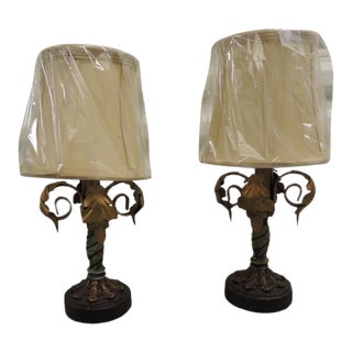 Pr of Vintage Italian Metal Hand Painted Petite Table Lamps