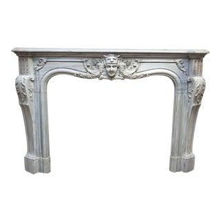 19th Century Louis XIV Style Gray Marble Mantel