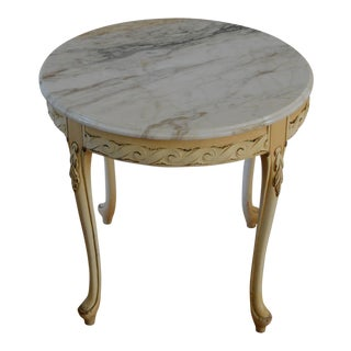 Vintage Marble Topped Carved Wood Round Table