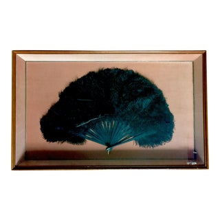 Antique Ostrich Feather Fan In Pink Velvet Shadowbox