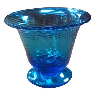Turquoise Hand Blown Glass Vase
