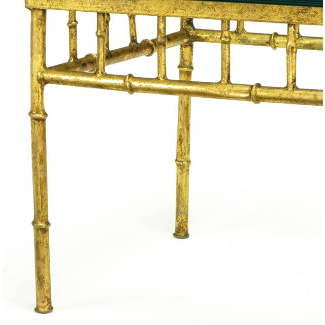 Pair of Glazed Gilt Metal Faux Bamboo End Tables - Image 5 of 5
