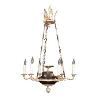 19th C French Empire Bronze Doré Chandelier