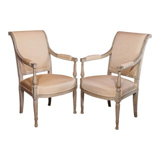 19th Century Painted Directoire Style Fauteuils - Pair