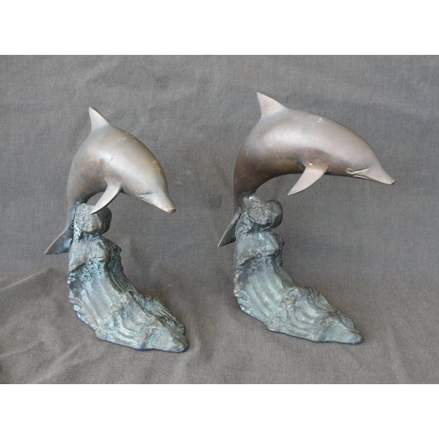 Cresting Wave Bronze Bookend Dolphins - Pair - Image 2 of 11