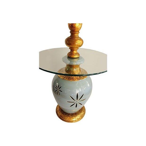 Vintage Blue & Gold Ceramic Table Lamp - Image 2 of 4
