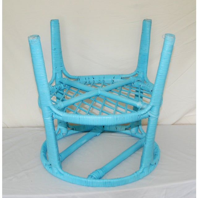 Image of Vintage Round Aqua Blue Wicker Table