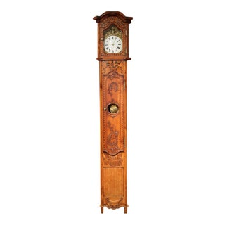 Tall 18th Century French Louis XV Carved Walnut & Inlay Grandfather Clock