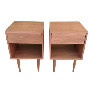 Vintage Modern Custom Walnut Nightstands - A Pair