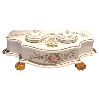 Vintage Hand-Painted Italian Floral Double Inkwell