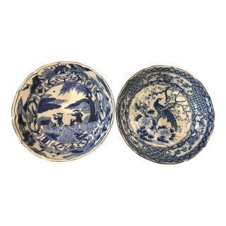 Japanese Blue & White Bowls - A Pair