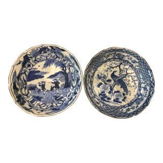 Japanese Blue & White Bowls - A Pair