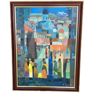 Cubist Painting of La Paz by Tellez Roman