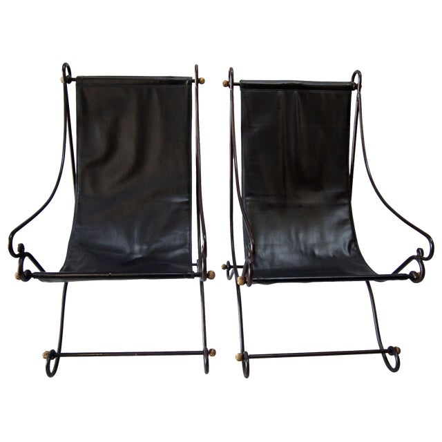 Image of Metal Sling Back Chairs - Pair