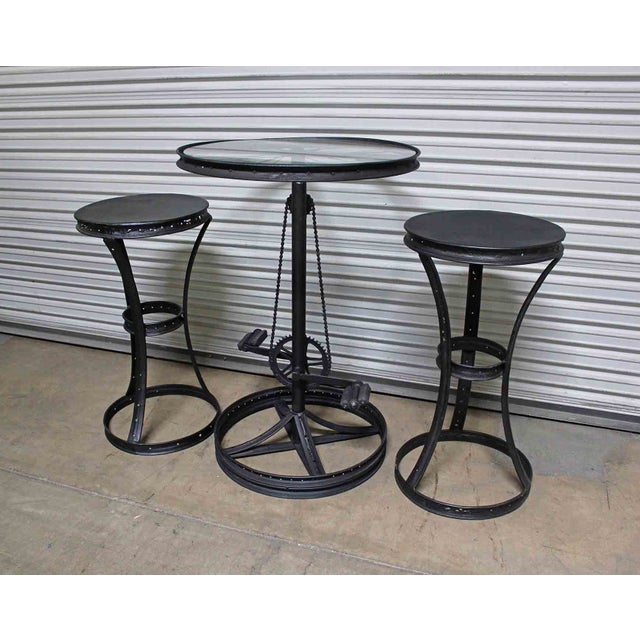 Glass Top Metal Bicycle Bar with Stools Set - Set of 3 - Image 4 of 5