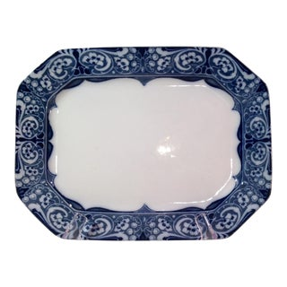 English Medium Flow Blue & White Platter