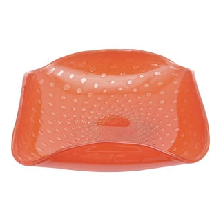 Italian Murano Barovier E Toso Hermes Orange and Gold Aventurine Folded Large Glass Bowl