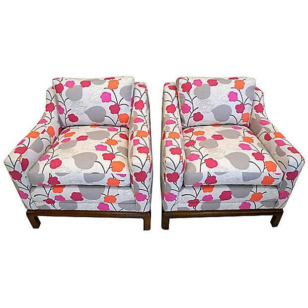 Colorful Floral Club Chairs - A Pair - Image 3 of 6