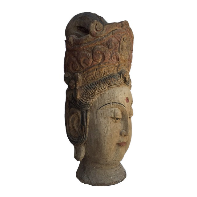 Chinese Rustic Wood Bodhisattva Head Statue - Image 3 of 5