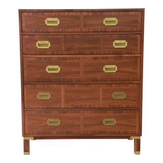 Baker Furniture Milling Road Campaign Style Highboy Dresser