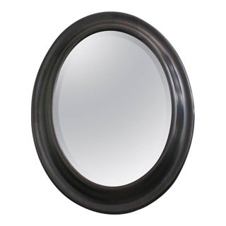 19th Century Oval Convex Framed Mirror With Bevel