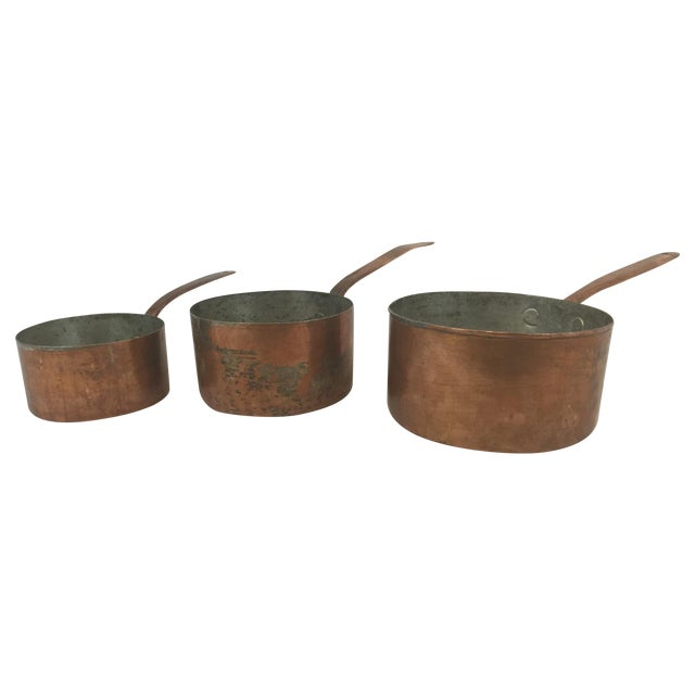 Antique Copper Pots with Dovetailing - Set of 3 - Image 1 of 10