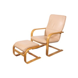 Bruno Mathsson Style Chair with Ottoman