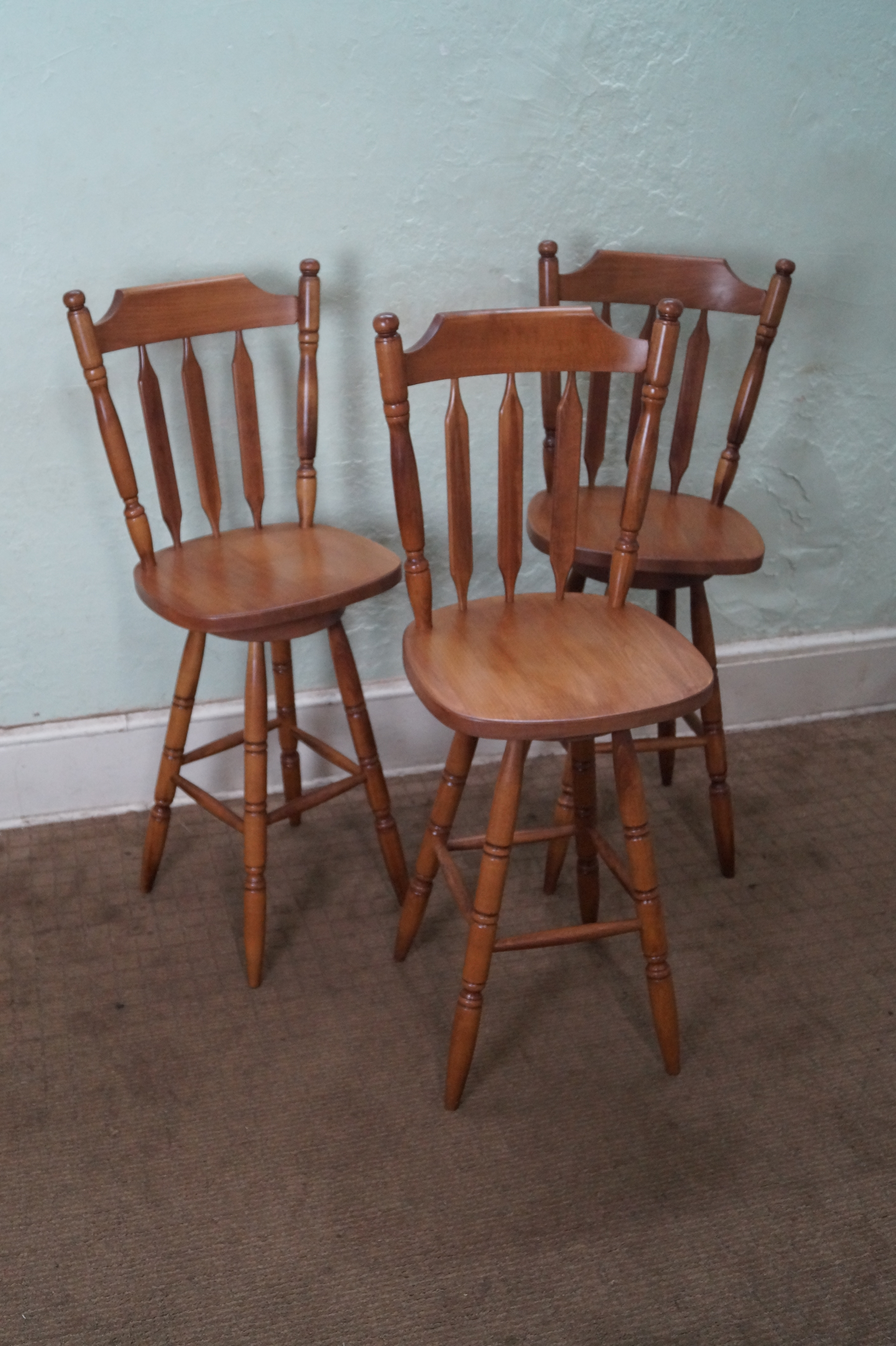 Maple Colonial Style Swivel Bar Stools Set Of 3 Chairish