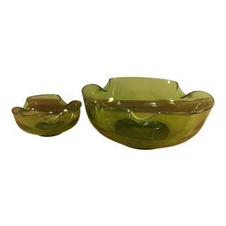 Green Glass Chip & Dip Serving Bowl Set