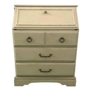 Petite White Faux Bamboo Secretary Desk