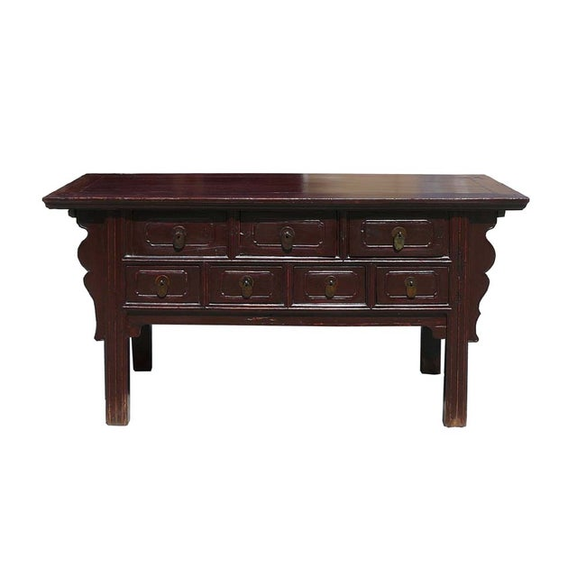 Chinese rustic brown seven drawer coffee table chairish for Rustic coffee table with drawers