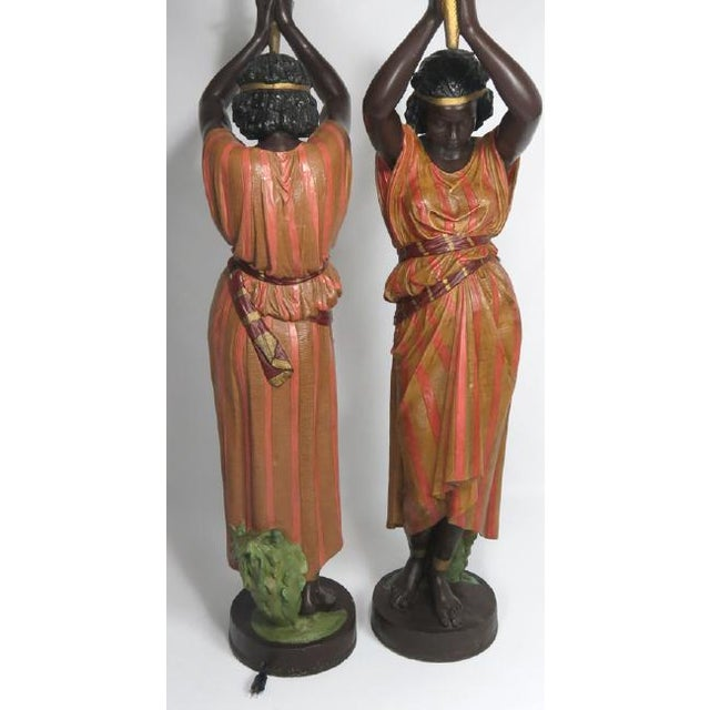 Antique Art Nouveau Polychromed Metal Nubian Maidens - a Pair-Early 20th C. - Image 3 of 3