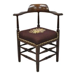 Antique Victorian Burgundy Floral Needlepoint Carved Walnut Corner Chair