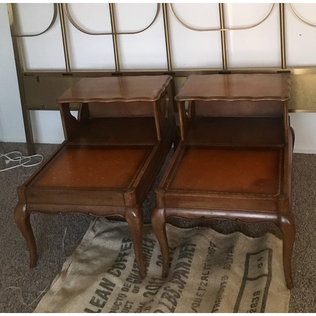 Image of Vintage Double Top Bedside Tables - A Pair