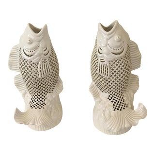 Blanc De Chine Jumping Koi Figurines - A Pair