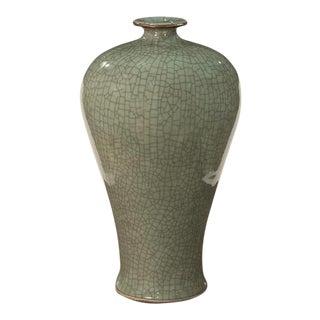 Sarried Ltd Celadon With Brown Lip Prunus Vase