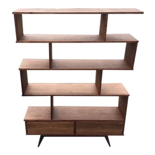 Mid-Century Walnut Custom Bookcase
