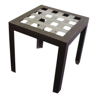 Stainless Steel Grid Side Table