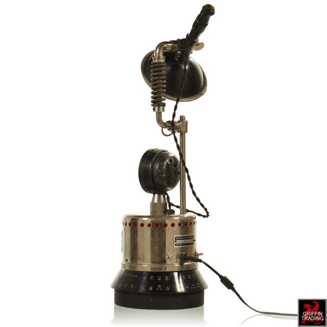 Industrial Table Lamp with LED Lighting and Clock - Image 4 of 10
