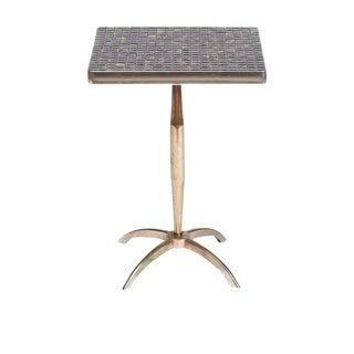Mid-Century Tile Top Pedestal Side Table