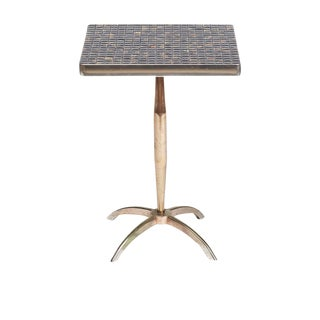 Mid-Century Tile Top Pedestal Side Table