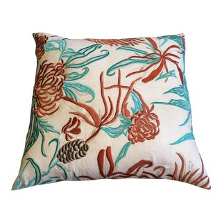 Teal and Coral Pillow Cover