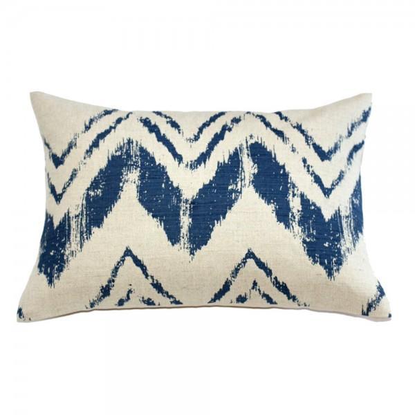 Blue Brush Stroke Linen Pillow - Image 1 of 3