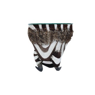 Zebra Side Table with Horn Base