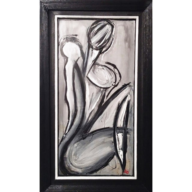 Sold*.Black & Gray Abstract Female Figure Painting - Image 3 of 3