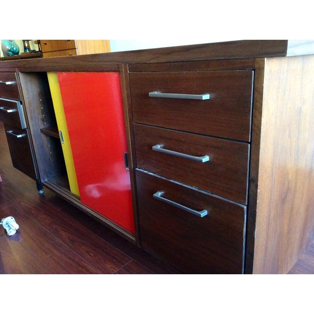 Image of Vintage Walnut Credenza W/Colorful Sliding Doors