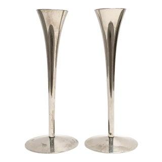 Vintage German Modern Fluted Stainless Steel Candleholders - Pair
