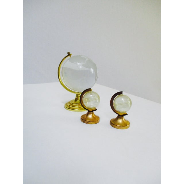Glass Globe Paperweight & Lucite Miniature Globes - Set of 3 - Image 2 of 5